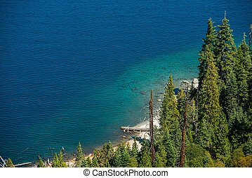 Lake Tahoe Bay Closeup Photo Summer at the Scenic Lake Tahoe...
