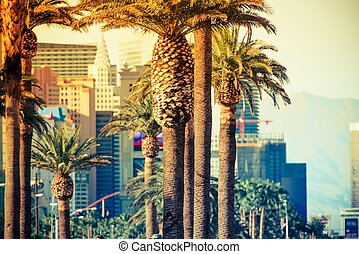 Las Vegas Strip Palms in Colorful Color Grading. Las Vegas,...