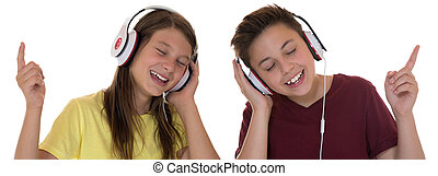 Young teenager or children listening to music, isolated on a...
