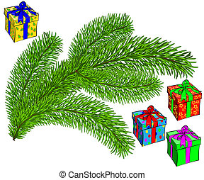 evergreen Christmas tree and gifts vector illustration