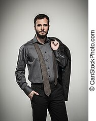 Handsome man with beard and jacket