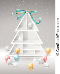 Christmas tree shelves with decorations over snowy...