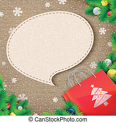 blank speech bubble came out from Christmas bag - blank...