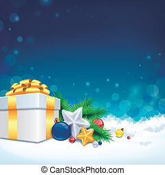 Christmas gifts and decorations over snow field background