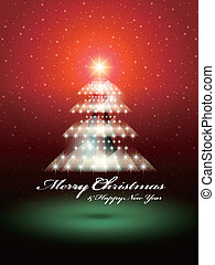 Shinny Christmas tree over red snowy background