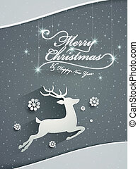 paper cut deer over snowy background - paper cut deer over...