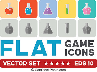Vector flat game icons set. Magic elixirs