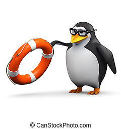 3d Academic penguin throws a life saver - 3d render of a...