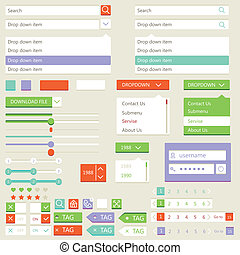 Flat elements design, ui set Vector illustration