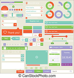 Flat elements design, ui set. Vector illustration
