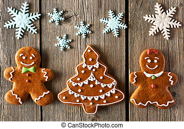Christmas gingerbread couple and tree cookies - Christmas...