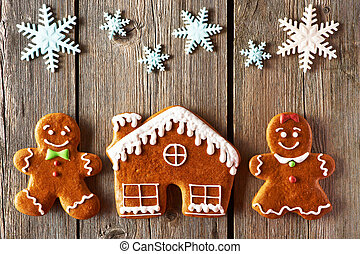 Christmas gingerbread couple and house cookies - Christmas...