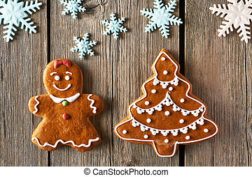 Christmas gingerbread girl and tree cookies - Christmas...