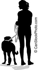 Silhouettes of people and dogs Vector illustration