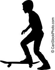 Set of skateboarders silhouette. Vector illustration.