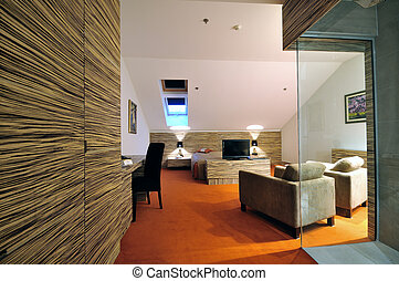 hotel room - modern hotel room apartment indoor with double...