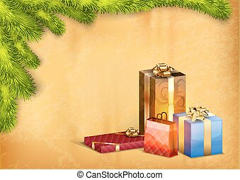 Christmas Gifts - Christmas background with gifts and green...