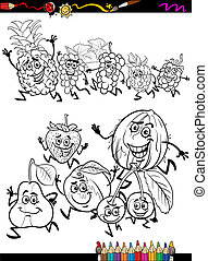 running fruits set cartoon coloring page - Coloring Book or...
