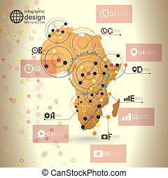 Africa map background vector, infographic design...