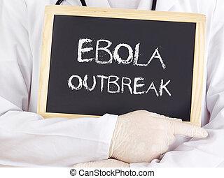 doutor, mostra, information:, Ebola, erupção