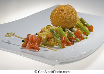 cutlet with fish and asparagus