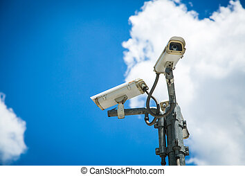 CCTV hang for check suitation with blue sky