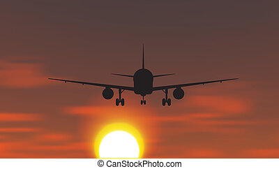 The plane is taking off at sunset