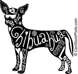 Pet Chihuahua Dog - Hand drawn illustration of a chihuahua...