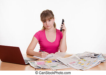 The girl refused to hire over the phone - A young girl sits...