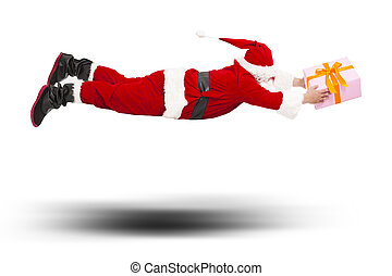 santa claus flying to deliver a gift box isolated on white...