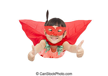 superhero kid flying and thumb up isolated on white...