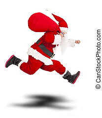 merry Christmas Santa Claus holding gift bag and...