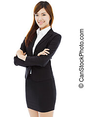 full length beautiful businesswoman standingisolated on...