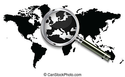 World map under magnifying glass
