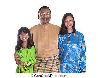 Malay Father And Daughters - Middle age Asian Malay father...