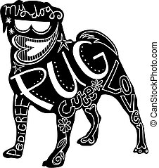 Pet Pug Dog - Hand drawn illustration of a pug dog...