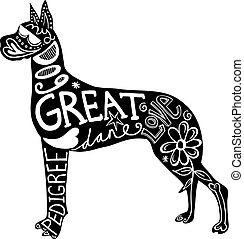 Pet Great Dane Dog - Hand drawn illustration of a great dane...