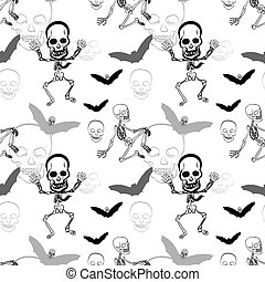 Seamless pattern of skeleton ,skull and bat on white...