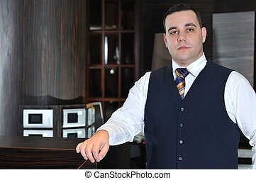 recetion man in hotel - reception service man hotel indoor...