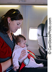 Mother carry her infant baby during flightConcept photo of...