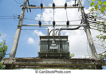 Electrical power transformer against Blue Sky in Thailand