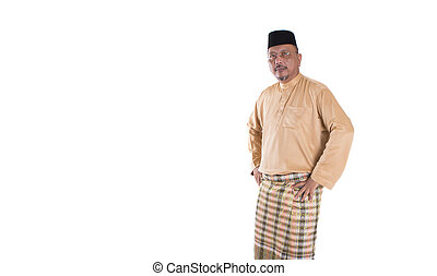 Middle Age Malay Man - Middle age Malay man in traditional...