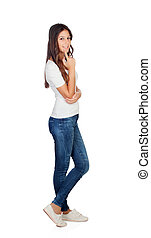 Pensive casual girl with jeans isolated on a white...
