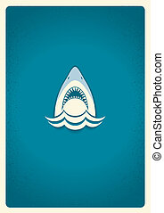 Shark jaws logoVector blue symbol illustration for text