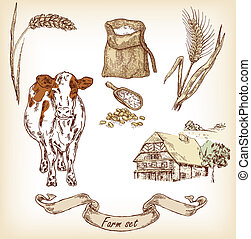 Farm set Hand drawn illustration of cow, house, sack, grain,...