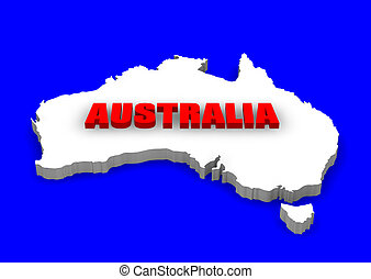 Australia Continent - 3D model of Australia continent with...