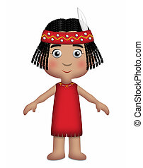 American Indian Girl wearing traditional red outfit.