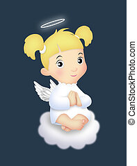 Angel Girl - Angel girl sitting on a cloud