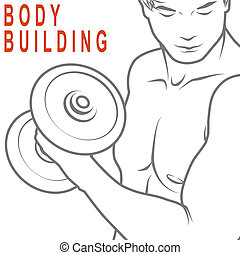 Body Building - Muscled man lifting dumbbells for body...