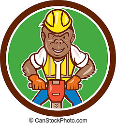 Gorilla Construction Jackhammer Circle Cartoon -...